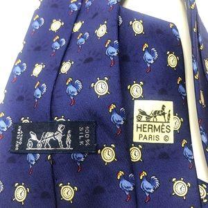 Hermes Accessories - Hermès Paris rooster chicken and clock silk tie